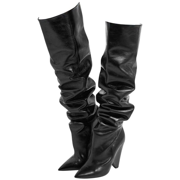 Saint Laurent Niki Glossed Leather Knee Boots, Fall 2017
