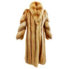 The Evans Collection at Jordan Marsh Long Fox Fur Coat, Sz M