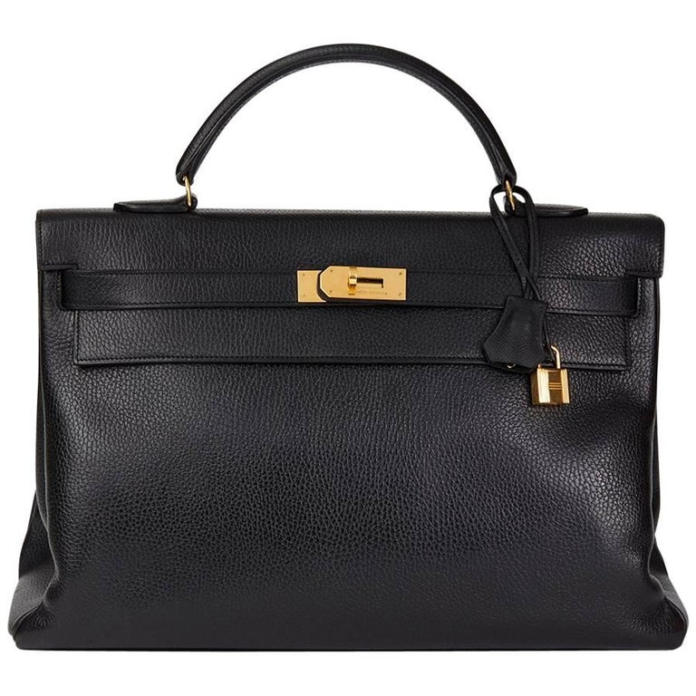 Hermes Black Ardennes Leather Vintage Kelly 40cm Retourne