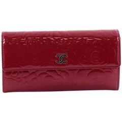 Chanel CC Gusset Flap Wallet Camellia Patent Long