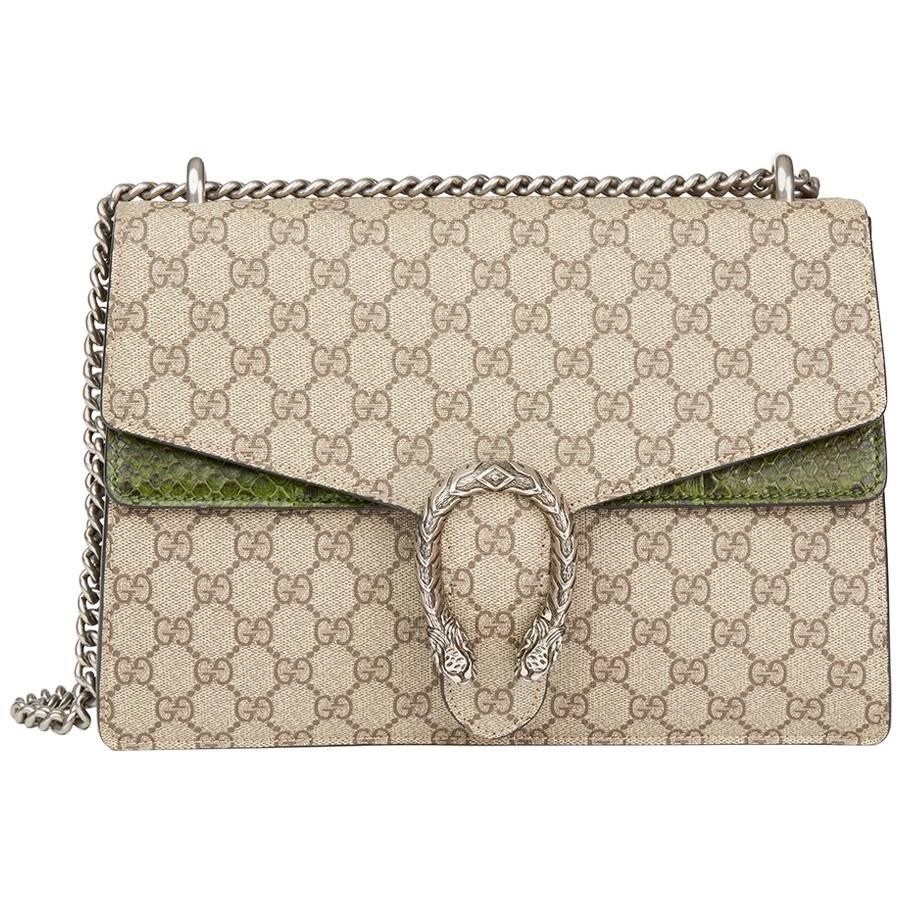 Gucci Gg Supreme Coated Canvas & Green Python Leather Medium Dionysus IeLnY