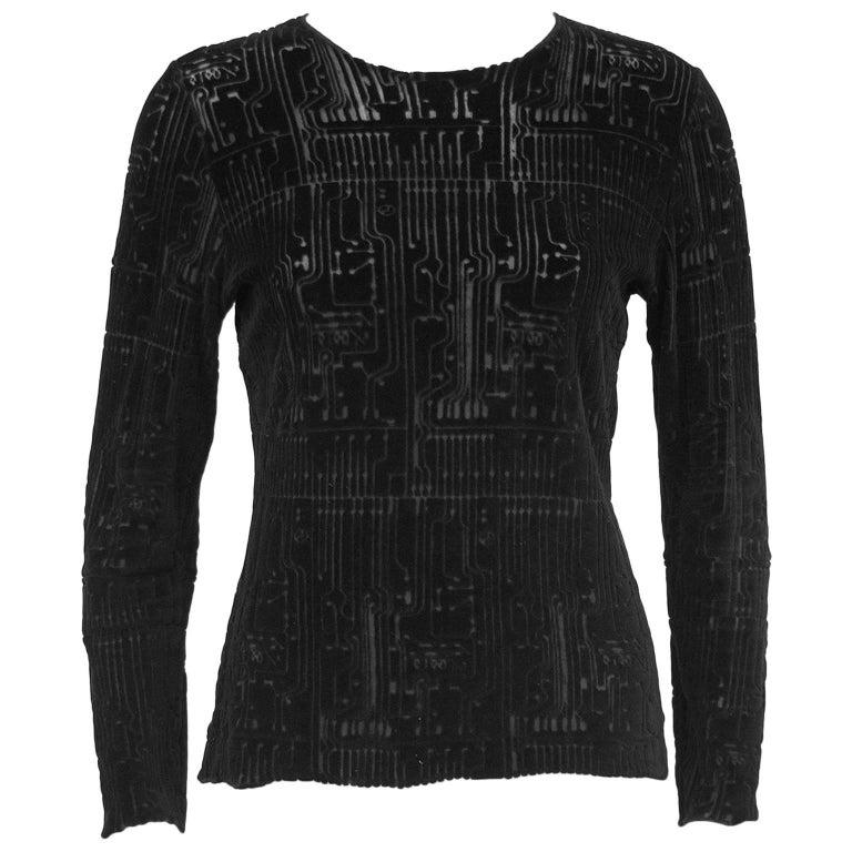 1990s Jean Paul Gaultier Black Devore Cut Velvet Long Sleeve Top
