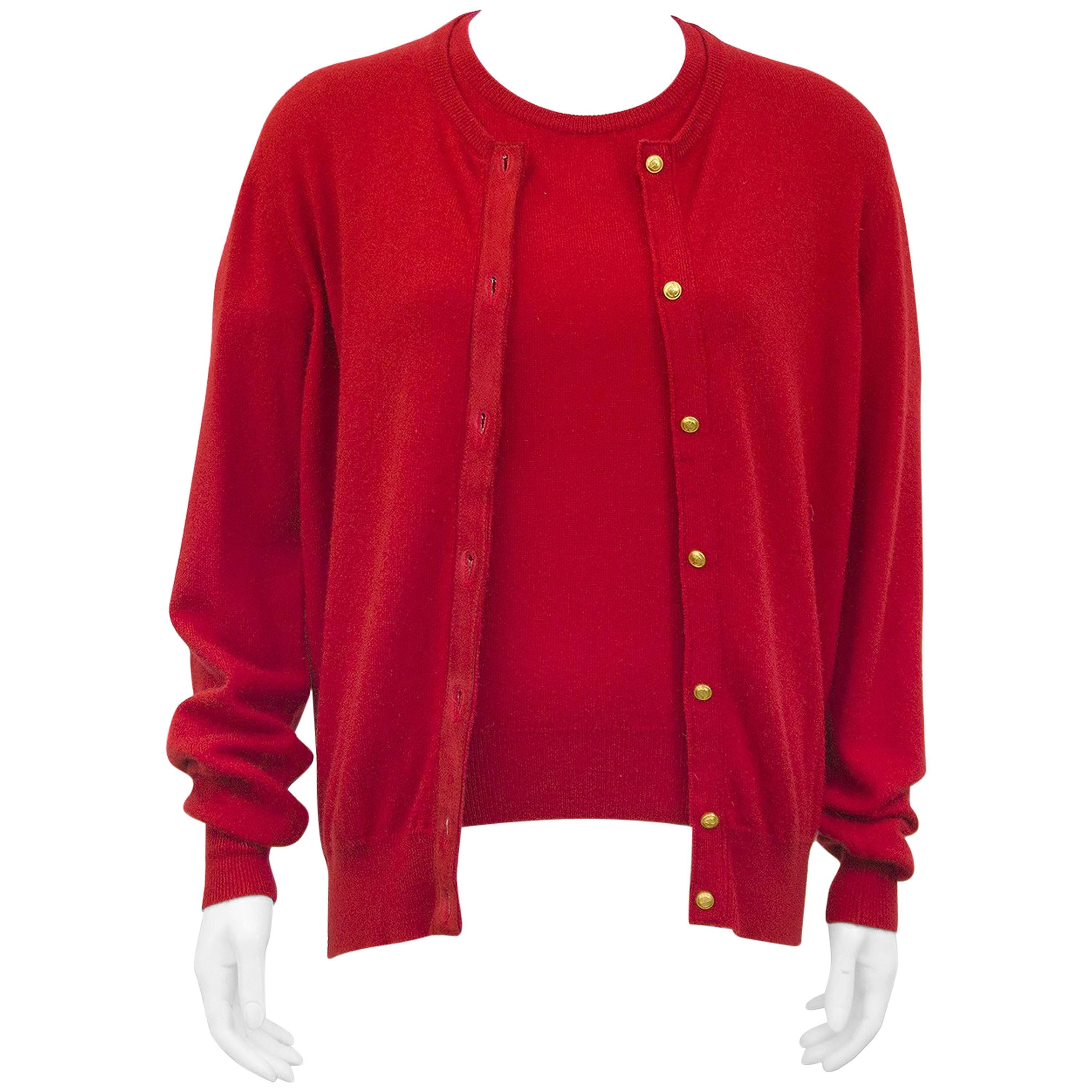 Early 1990s Gucci Red Cashmere Twin Set