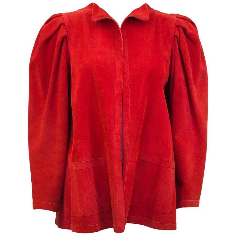 1980s Jean Muir Red Suede Jacket
