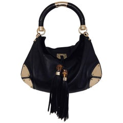 Gorgeous Gucci Black Leather Indy Bag with Bamboo Tassels & Gold Tone Hardware