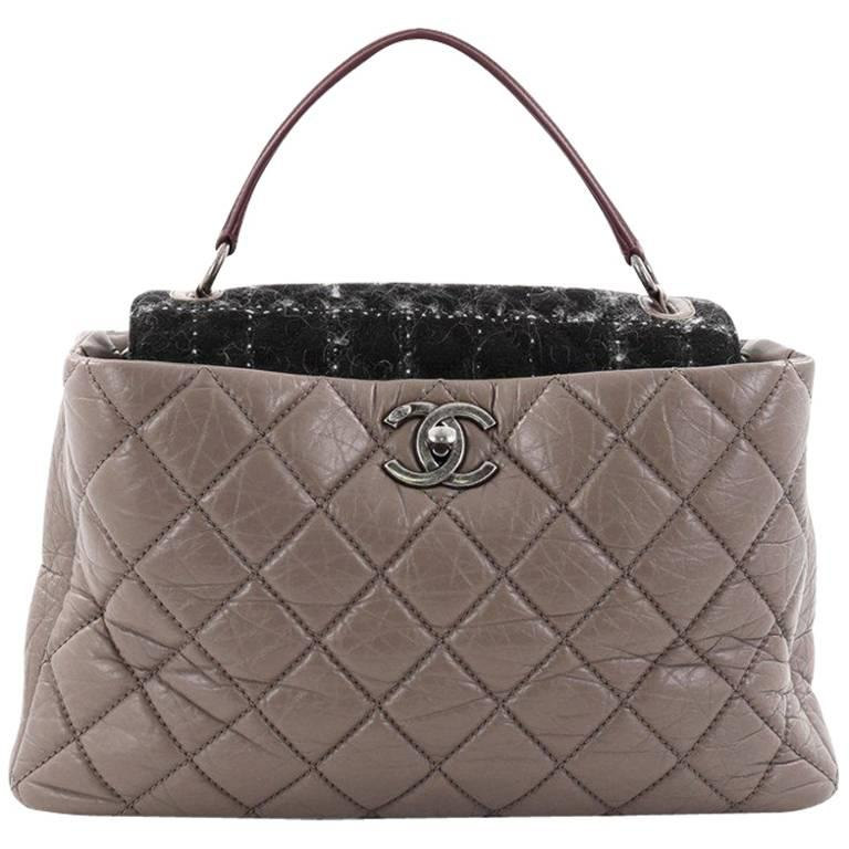 Chanel Portobello Top Handle Bag Quilted Aged Calfskin and Tweed Large For Sale
