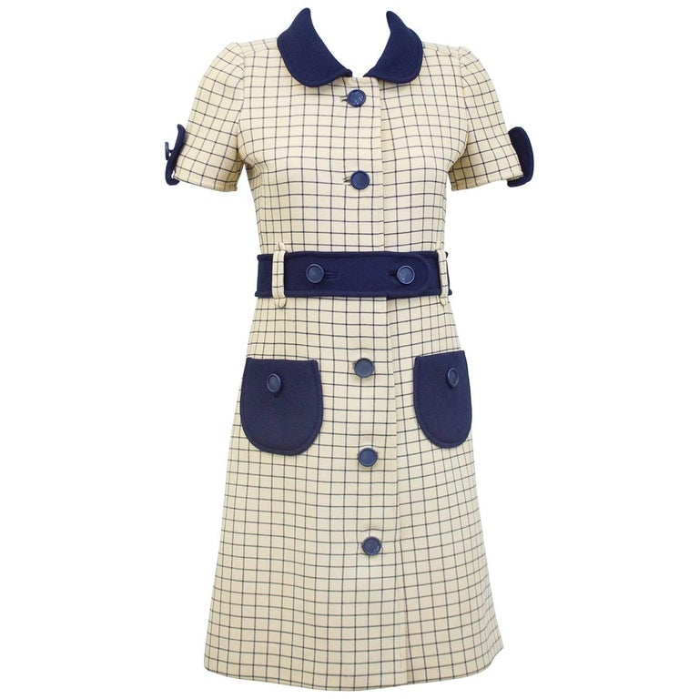 1960s Courreges Cream and Navy Blue Windowpane Day Dress