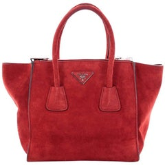 Prada Twin Pocket Tote Suede Small