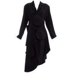 Yohji Yamamoto Black Wool Blazer With Asymmetrical Hemline