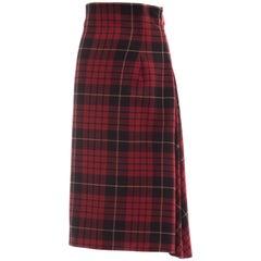 Alexander McQueen Red Wool Tartan Plaid High - Waisted Skirt, Fall 2006