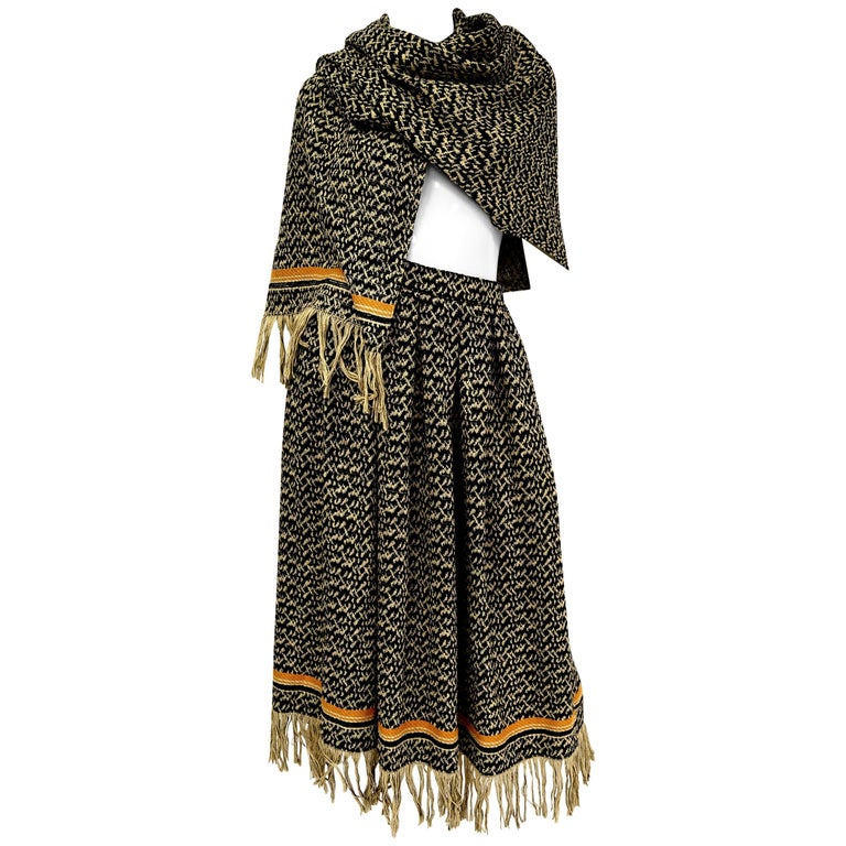 Early 1970s Anne Klein Black and Beige Wool Fringe Skirt and Shawl  14