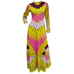 1970s Artemis Neon Pink and Gold Petal Maxi Dress