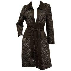 1990s Douglas Hannant Beaded Loose Black Silk Weave Jacket