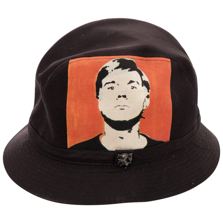 Philip Treacy Black Woven Printed Cotton Andy Warhol Bucket Hat, Circa 2006 For Sale