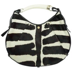 Yves Saint Laurent Black and Ivory Pony Hair Mumbasa Handbag