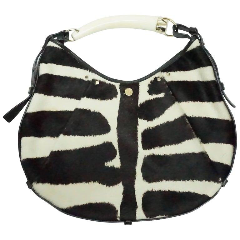 Yves Saint Laurent Black and Ivory Pony Hair Mumbasa Handbag