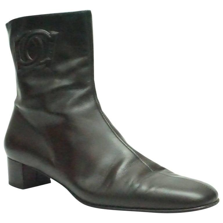 Salvatore Ferragamo Chocolate Brown Leather Short Boot - 9B