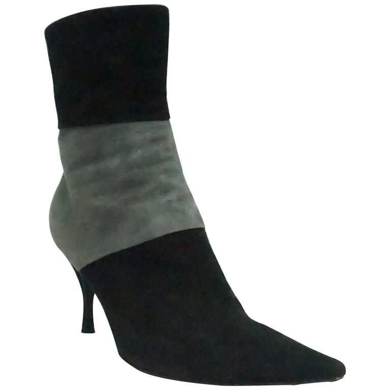 Sergio Rossi Black and Grey Suede Short Boot - 39.5