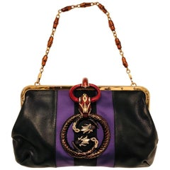 Gucci's Tom Ford Rare Black Leather Bag with Interlocking Snakes for GG Logo