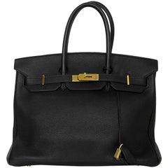Hermes 2003 Black Togo Leather 35cm Birkin Bag w/ Gold Hardware