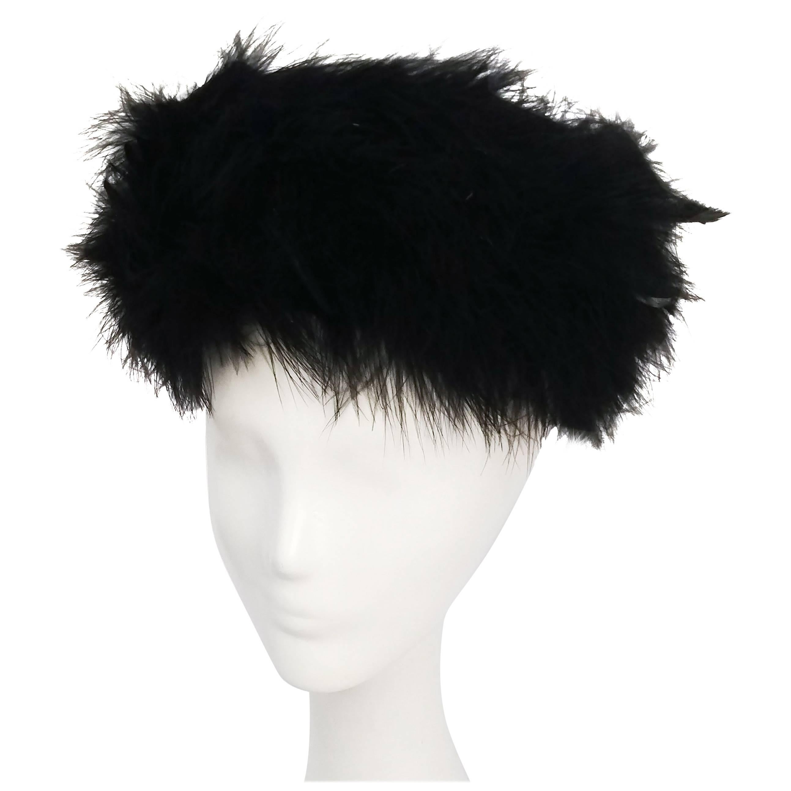 1960s Black Marabou Trimmed Feather Hat