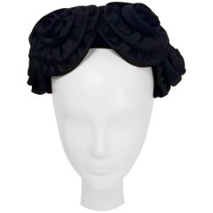 1950s Black Rosette Cocktail Hat
