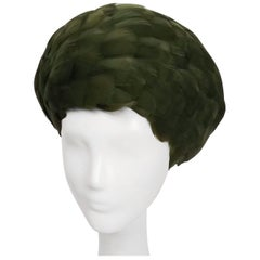 1960s Olive Green Feather Beret