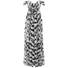 ALEXANDER McQUEEN S/S 2012 White Tiger Stripe Silk Chiffon Evening Gown NWT