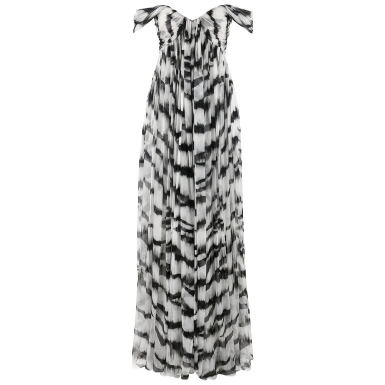 ALEXANDER McQUEEN S/S 2012 White Tiger Stripe Silk Chiffon Evening Gown NWT