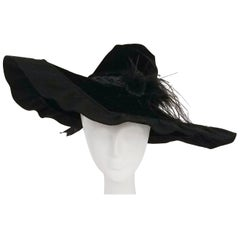 1940s Black Velvet Wide Brim Conical Hat