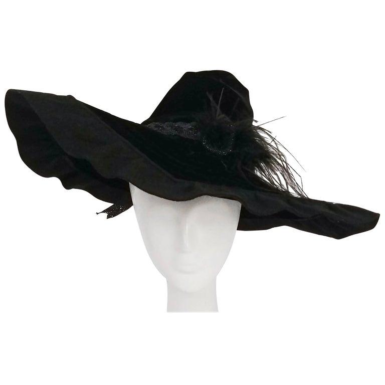1940s Black Velvet Wide Brim Conical Hat at 1stdibs 05ba2500b53