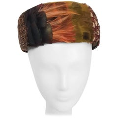 1960s Green & Olive Multi-Feathered Pillbox Hat