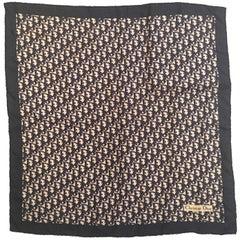 """1970'S Chrsitian Dior """"CD"""" Logo Silk Scarf"""