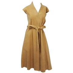 1980s Halston Vegan Suede Wrap Dress