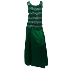 Emerald Green Sequin Top and Satin Evening Skirt, 1960s