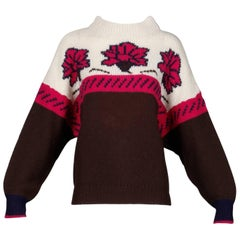 1990s Byblos Vintage 100% Wool Chunky Knit Sweater Top with Flower Design
