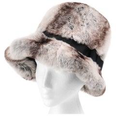 CHRISTIAN DIOR Chapeaux c.1960's MARC BOHAN Natural Chinchilla Fur Cloche Hat
