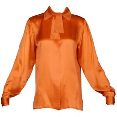 Unworn w/ Original $5,995.00 Tags Claude Montana Vintage Orange Silk Blouse Top