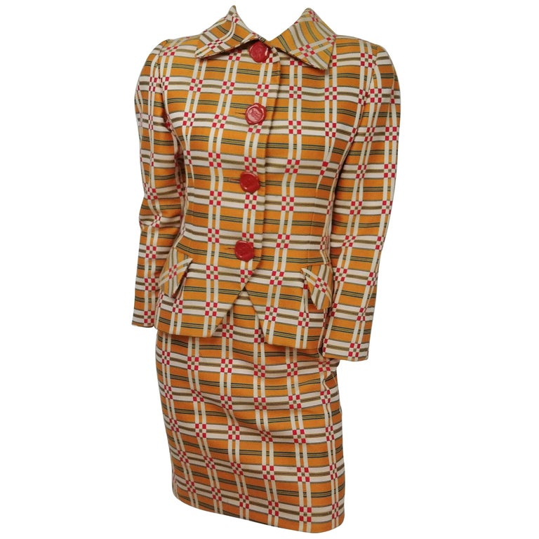 Bill Blass Orange Plaid Skirt Suit with Wax Seal Buttons, 1980s