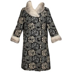 1960s Vintage Wool Tapestry Coat with Black, White Cross Mink Fur Collar + Cuffs