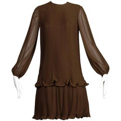 Stunning 1970s Pierre Cardin Vintage Brown Silk Pleated Drop Waist Dress