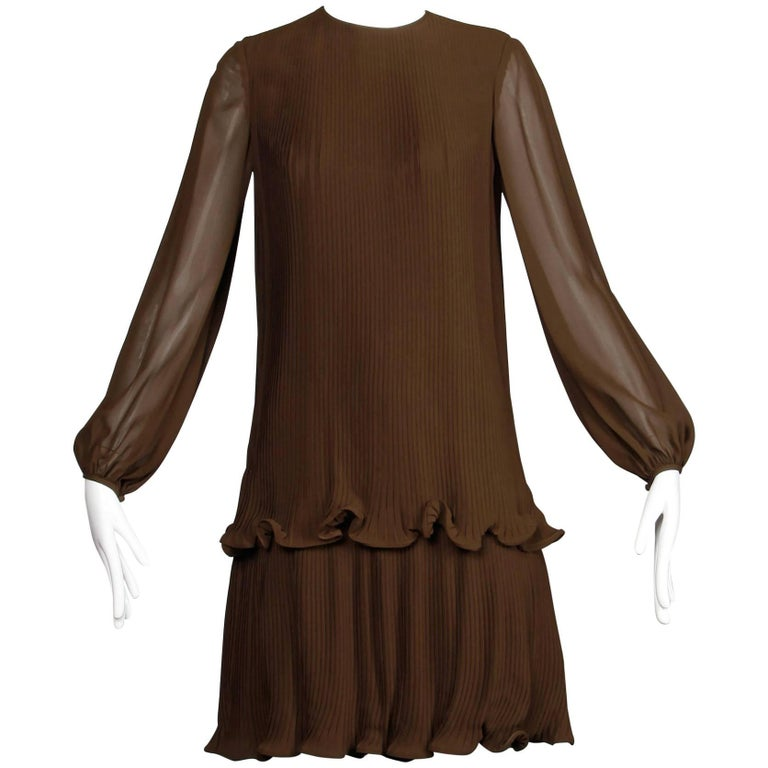 Stunning 1970s Pierre Cardin Vintage Brown Silk Pleated Drop Waist Dress