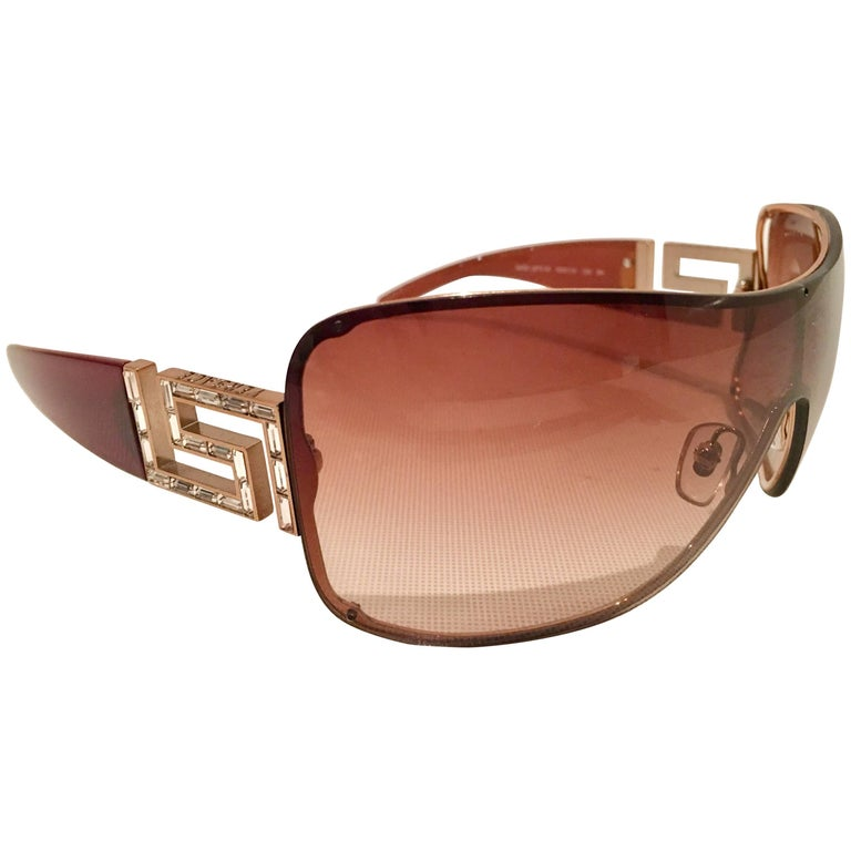Contemporary Versace Crystal Embelisshed Greek Key Sunglasses