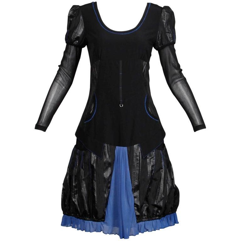 1990s Krizia Vintage Blue + Black Avant Garde Mesh Goth Parachute Dress