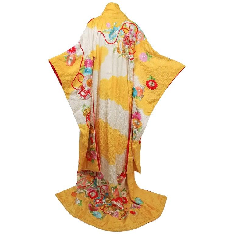 Flowers & Temari Yellow Silk Jacquard Kimono with Colorful Embroidery