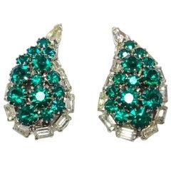 Vintage 60s Teardrop Faux Emerald and Rhinestone Earrings