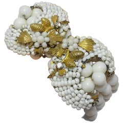 Late 1930s Vintage Haskell White Beaded Bracelet