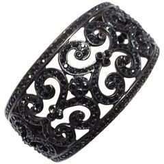 Kenneth Jay Lane Black Rhinestone Cuff Bracelet