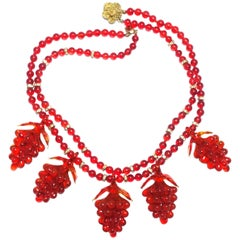 Czech Vintage Red Glass Grapes Necklace, 1930s