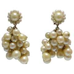 Vintage 1950s DeMario Faux Pearl Cluster Earrings
